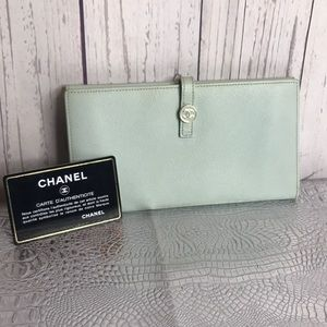 Authentic chanel coco button  leather wallet